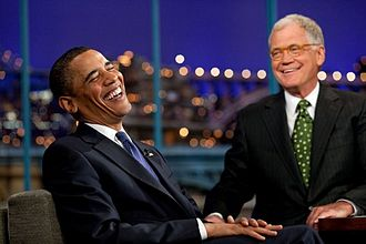 Late-night talk show - Late-night talk shows often feature guest interviews. Here, Barack Obama is interviewed by David Letterman.