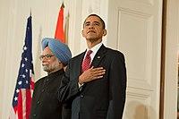 President Barack Obama with Prime Minister Manmohan Singh 2009-11-24.jpg