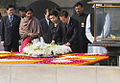 President Lee Myung-bak and his wife Kim Yoon-ok pay their tributes at the Mahatma Gandhi memorial in New Delhi.jpg