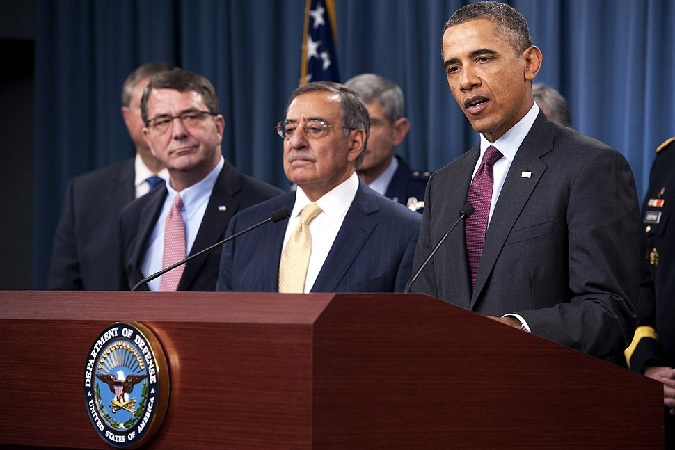 President of the United States Barrack Obama delivers a press brief along with Secretary of Defense Leon Panetta and General Martin Dempsey