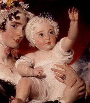 Priscilla Fane, Countess of Westmorland - Lady Westmorland holding her second son George Fane (1819–1848).