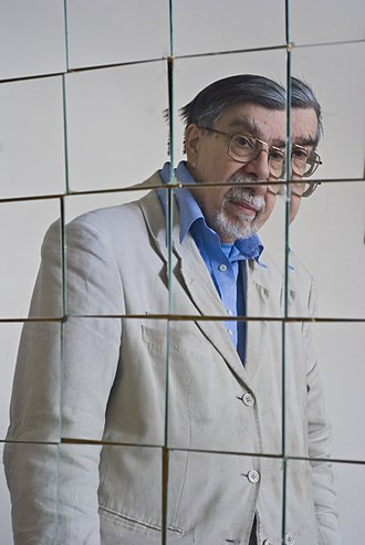 David E. H. Jones - Dr Jones reflected in a set of mirrors he positioned to emulate Archimedes mirror attack on ships in Syracuse