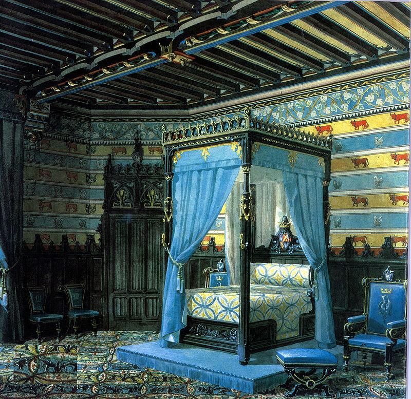 Projet de chambre par Viollet-le-Duc, château de Roquetaillade.jpg