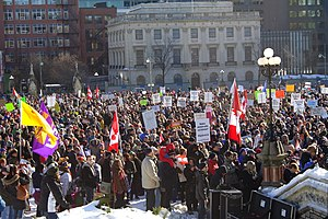 2010 Canada anti-prorogation protests - Demonstrators on Parliament Hill in Ottawa.