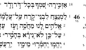 Psalm 46 - Beginning of Psalm 46 in Hebrew