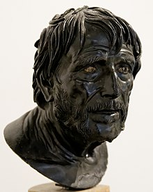 "The ""Pseudo-Seneca,"" a bronze portrait head identified for a very long time as the Roman philosopher Seneca the Younger, but now believed to most likely be a fictional representation of Hesiod"