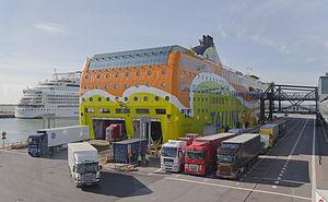 West Harbour, Helsinki - Trucks being unloaded from Tallink's MS Superstar.
