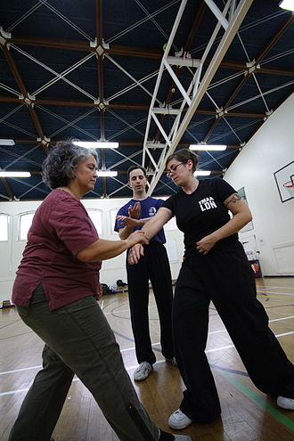 "Tai chi - Two students receive instruction in tuishou (""pushing hands""), one of the core training exercises of t'ai-chi ch'üan."