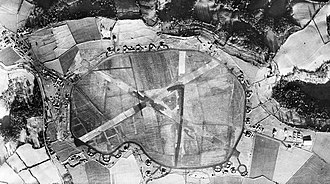 RAF Charmy Down - Aerial photograph of RAF Charmy Down looking north, the control tower and technical site is on the left, 4 December 1943.