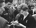 RIAN archive 17060 Tereshkova giving autographs.jpg