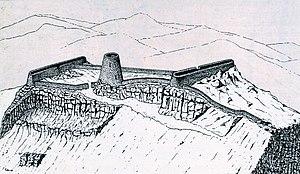 Ricostruzione della fortezza nuragica scoperta da Elio Aste nel maggio del 1985 nel Supramonte di Baunei