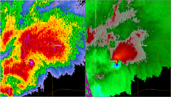 Radar image of the Joplin thunderstorm as the tornado was moving through the city