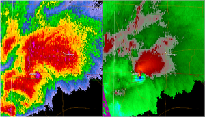 Image showing two radar images. On the left is a base reflectivity radar image, which displays precipitation. On the right is a storm relative velocity radar image, which shows direction and intensity of wind speeds.