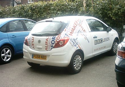 A BBC Radio Leeds vehicle as seen at Headingley during a one-day cricket match in 2009. Radio Leeds car.jpg
