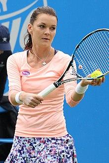 Radwańska practicing in June 2016.