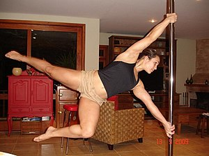 Pole dancer Rafaela Montanaro performing