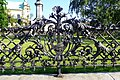 Railings around the Adam Mickiewicz Monument in Warsaw.jpg