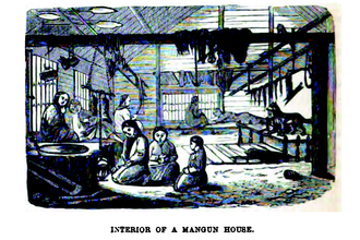 Ulch people - Interior of a Mangun House, drawing by Richard Maack ca. 1854-1860