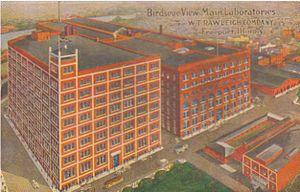 William Thomas Rawleigh - Postcard of the Rawleigh manufacturing building in Freeport, Illinois.