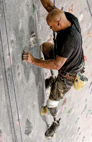 College Park Industries - Bilateral lower-limb amputee Reggie Showers rock climbing on Trustep feet.
