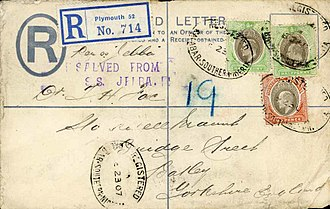 SS Jebba - Registered envelope from Old Calabar, Southern Nigeria, salvaged from the SS Jebba.