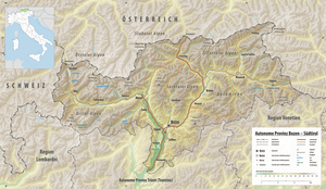 Overview map of South Tyrol