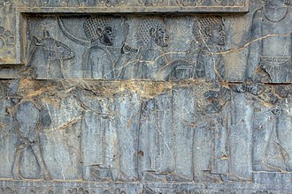 Kushite delegation on a Persian relief from the Apadana palace (c. 500 BC) Reliefs in Persepolis ngrh hy tkht jmshyd 05.jpg