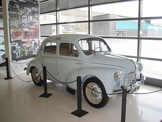 Renault 4CV - The first car of the Renault 4CV manufactured by FASA-Renault at the factory of Valladolid. The factory was opened in 1951. This copy is located in the Valladolid Science Museum.