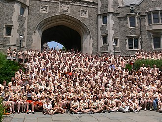 Princeton Reunions - The Class of 1982 at its 25th reunion in 2007, posing for a group photo in front of Blair Arch.