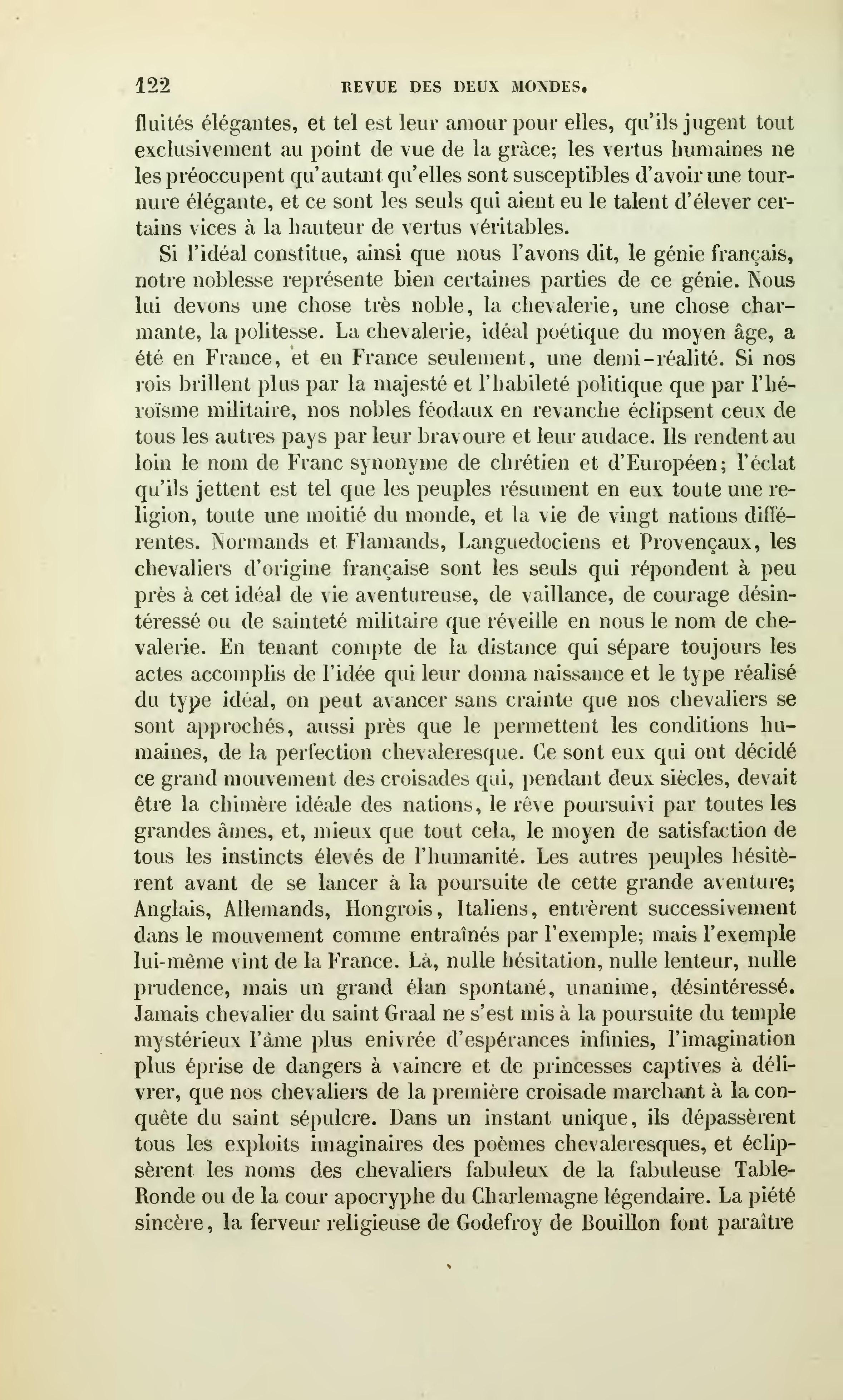 Page revue des deux mondes 1857 tome - Les noms des 12 chevaliers de la table ronde ...