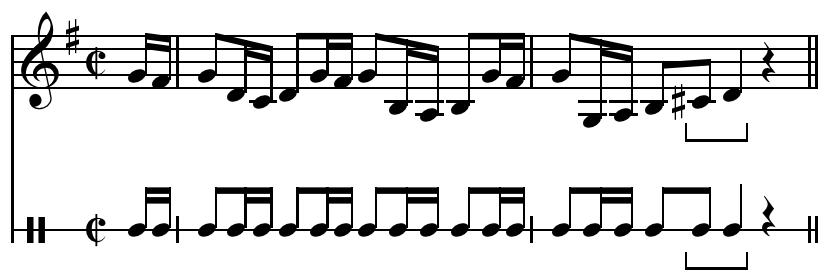 Rhythmic cadence from Brandenberg Concerto no. 3