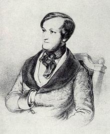 Richard Wagner zur Zeit seiner ersten Begegnung mit Meyerbeer; Porträt von Ernst Benedikt Kietz, um 1840 (Quelle: Wikimedia)