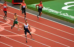 Great Britain at the 2012 Summer Paralympics - Richard Whitehead winning the gold medal in the T42 200 metres.