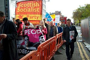 Scottish Socialist Party - Richie Venton (right) with the SSP in Glasgow, 18 October 2014
