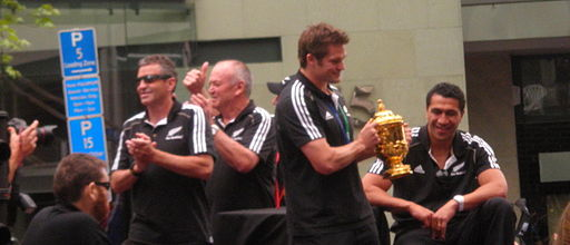 Richie mccaw holding the webb ellis cup