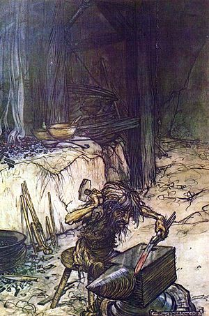 Regin - Mime (Reginn) by Arthur Rackham.