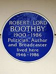 Robert Lord Boothby 1900-1986 Politician Author and Broadcaster lived here 1946-1986.jpg
