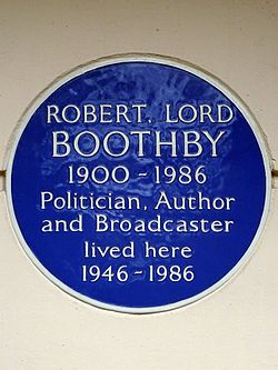 Robert lord boothby 1900 1986 politician author and broadcaster lived here 1946 1986