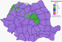 Main ethnicities in the localities (2011) Romania harta etnica 2011.PNG