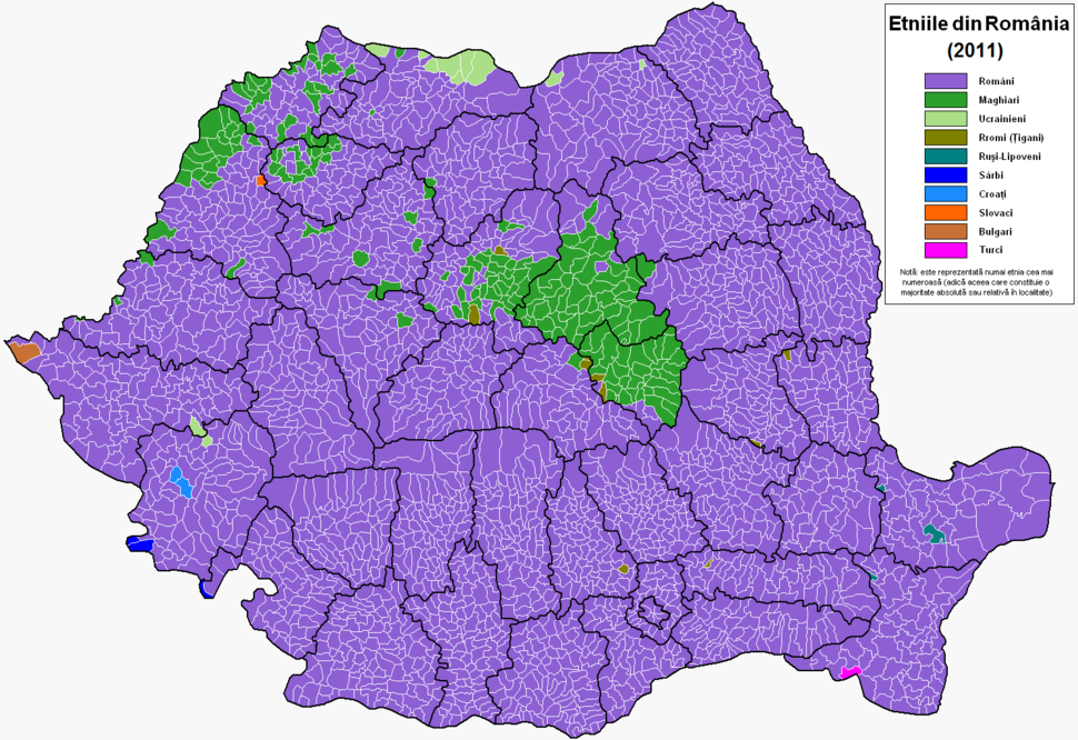 Romania harta etnica 2011