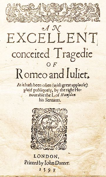 Title Page of 1st edition of Romeo and Juliet