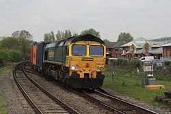 Romsey - Freightliner 66542 Hams Hall to Southampton diverted.JPG