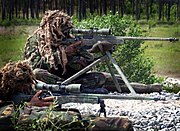 Royal Marines snipers displaying their L115A1 rifles