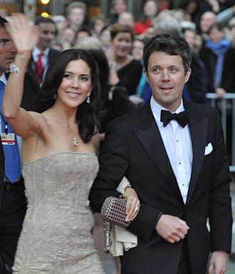 Frederik, Crown Prince of Denmark - Crown Prince Frederik with his wife Crown Princess Mary at the Wedding of Victoria, Crown Princess of Sweden, and Daniel Westling.