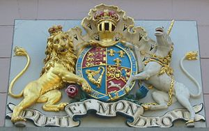 States of Jersey - Royal coat of arms (Hanoverian) on the States building in St. Helier