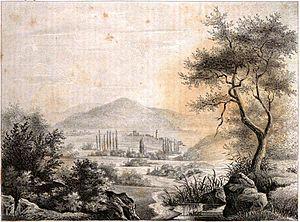 Ruinen von Troja Karlsruher Unterhaltungsblatt 1835.jpg
