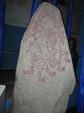 Hyrrokkin - It is believed that the figure on one of the stones from the now shattered Hunnestad Monument is Hyrrokkin.