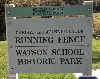 Running Fence - Image: Running Fence Watson School sign