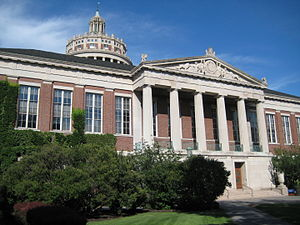 University of Rochester - The iconic front of Rush Rhees Library.