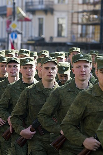 Russian Ground Forces - Russian soldiers on parade in Saint Petersburg in 2014.